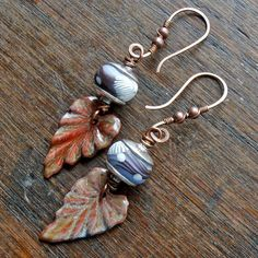 woodland glade  handmade beaded earrings with by songbead on Etsy