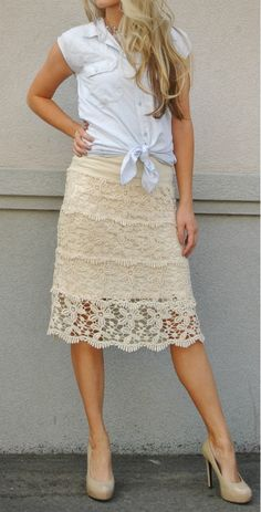Chambray shirt lace skirt nude shoes.  Refashion.