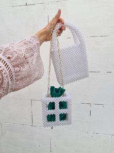 Green Handbag, Green Bag, Beaded Bags, Beaded Jewelry, Custom Made Gift, Wedding Bag, Natural Stone Jewelry, Custom Bags, Bead Crochet
