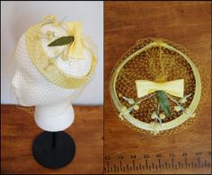 1950s Floral Yellow Halo Vintage Hat with Bow by BrownLovesBlack, $19.00
