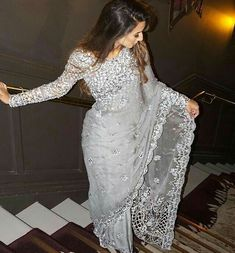 Looking for the best Modern Saree such as Designer Sari also Elegant Sari Blouse then Click visit link to see Saree Designs Party Wear, Party Wear Sarees, Net Saree Designs, Sari Design, Diy Design, Sari Dress, The Dress, White Saree Blouse, Indian Wedding Outfits