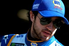 Chase Elliott, driver of the #9 NAPA Auto Parts Chevrolet, stands in the garage during practice for the Monster Energy NASCAR Cup Series Auto Club 400 at Auto Club Speedway on March 17, 2018 in Fontana, California.