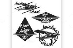 Vintage Aviation emblems. Vintage Design. $7.00
