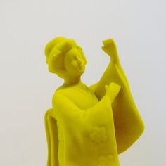 ceramic geisha figurine // fluorescent yellow home decor // upcycled neon collectible // asian pop art object
