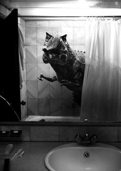 LOL funny Black and White hipster horror indie Grunge dinosaur bathroom Shower surrealism Alternative t-rex pastel goth bizarre Kitsch tyrannosaurus rex weird art surrealist art funny art Artistic nudes weird photos bizarre art weird photo chip T Rex, White Photography, Creepy, Scary, Funny Pictures, Funny Pics, Hilarious, Lake Pictures, Black And White