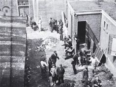 1942 - 1943. The courtyard of the Hollandsche Schouwburg, located in the heart of the old Jewish quarter of Amsterdam. This building was used by the German occupier as an assembly point for primarily jews facing immediate deportation to transit camp Westerbork near Assen. #amsterdam #worldwar2 #HollandscheSchouwburg
