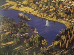 Aerial view of Zoo Lake. The shape and position of the island match the footage Johannesburg City, Aerial View, Historical Photos, Childhood Memories, South Africa, Landscape Photography, City Gardens, River, Island