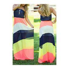 Rotita Strapless Color Block Wide Striped Maxi Chiffon Dress (6.407 KWD) ❤ liked on Polyvore