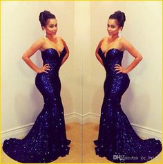 Bling Royal Blue Sequins Mermaid Evening Dresses 2015 Strapless Sweetheart Backless Chapel Train Party Prom Formal Gowns New Celebrity Dress Online with $92.15/Piece on Cc_bridal's Store   DHgate.com