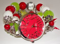 Christmas Chunky Beaded Interchangeable Watchband by BeadsnTime, $30.00