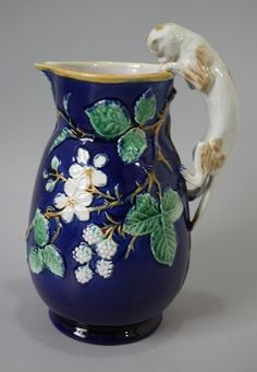 Majolica cat pitcher/jug with cobalt blue ground