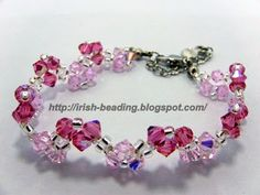 Materials:  A - 4mm Swarovski Bicone #5328 289 Indian Pink AB x 21 pcs  B - 4mm Swarovski Bicone #5328 508 Roseline AB  x 24 pcs  C  - 11/0 ...