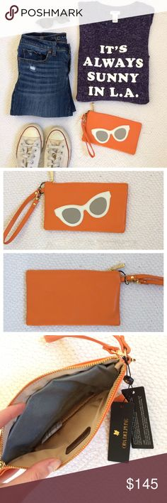 """NWT Ora Delphine Leather Sunglasses Pouch NO TRADES. OFFERS WELCOME. PLEASE USE THE OFFER BUTTON. I DO NOT NEGOTIATE PRICE IN THE COMMENTS. New with tags, genuine leather pouch with sunglasses design. Color is listed as Clementine (it's orange). Comes with small strap. Goldtone hardware. Zipper closure. Comes with small dust bag. 8"""" widex4.5"""" long. Comes in original plastic wrapping. Super cute!! Ora Delphine Bags Clutches & Wristlets"""