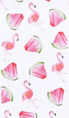 Flamingo watermelon wallpaper