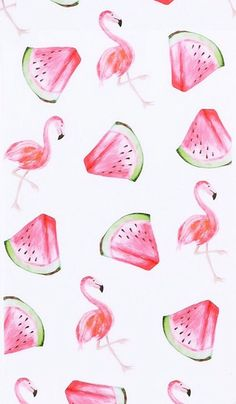 Flamingo watermelon wallpaper