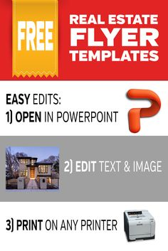 Free Modern Real Estate Flyer Templates. These templates are really easy to edit. They can be opened and edited in powerpoint. And will print on any standard printer. There are 4 modern templates to choose from. All free to download. Pin Me & Then Click To Download. #realestate #realtor #marketing