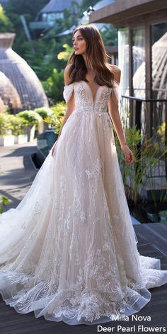45 Elegant off the shoulder wedding dresses - wedding dress Finding stunning wedding dresses to choose from is so much more involved than a bride would think. If you're looking a perfect wedding dress. Rainbow Wedding Dress, Stunning Wedding Dresses, Modest Wedding Dresses, Elegant Wedding Dress, Perfect Wedding Dress, Wedding Dress Styles, Designer Wedding Dresses, Bridal Dresses, Dress Wedding