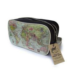world map wash bag