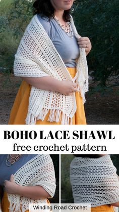 The Modern Boho Shawl Free crochet pattern by Winding Road Crochet. The perfect quick and easy crochet boho shawl is perfect for summer and fall. Free crochet pattern for this lacey open stitch shawl. Prayer Shawl Crochet Pattern, Prayer Shawl Patterns, Crochet Prayer Shawls, Crochet Shawl Free, Crochet Wrap Pattern, Crochet Shawls And Wraps, Boho Crochet Patterns, Crochet Simple, Quick Crochet
