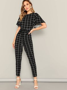 Check out this Flutter Sleeve Belted Grid Print Jumpsuit on Shein and explore more to meet your fashion needs! Look Fashion, Fashion News, Womens Fashion, Fashion Black, Street Fashion, Printed Jumpsuit, Mode Vintage, Mode Inspiration, Mode Style