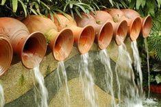 Water Pots Fountain water gardens, jar, watering cans, water pot, garden water features, garden fountains, design, clay pots, pot fountain