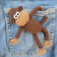 Pocket Monkey mini toy knit..