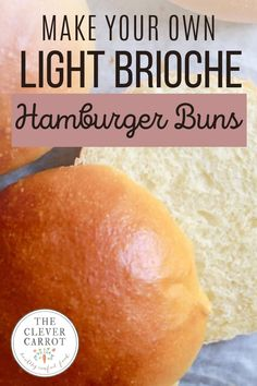These light Brioche buns are so much easier to make than you might think! They're great for bbq, sandwiches and more. After you try this easy hamburger bun recipe, you'll never buy them from the store again. Homemade Hamburger Buns, Hamburger Bun Recipe, Homemade Hamburgers, Vegetarian Snacks, Best Vegetarian Recipes, What A Burger, Homemade Seasonings, Sourdough Bread, Easy Snacks