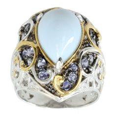 Michael Valitutti Palladium SIlver Blue Opal And Iolite Ring - Overstock™ Shopping - Top Rated Michael Valitutti Designer Rings