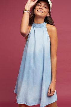 Chambray High-Neck Swing Dress at Anthropologie Spring Summer Fashion, Spring Outfits, Spring Style, Summer Swing Dresses, Dress Summer, High Neckline Dress, Tent Dress, Chambray Dress, Classy Casual