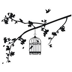 black and white drawings of bird, birdcage and branches | Vinyl Art SA Products Bird Cages Summer Branch With Bird Cage