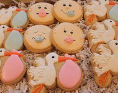 Baby Shower Cookies Gender Reveal Cookies Custom Cookies, Baby Shower Favors, Decorated Cookies, Stork Cookies, Baby Face Cookies, Pacifiers