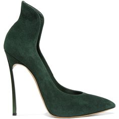 Casadei Suede pumps (18.885 RUB) ❤ liked on Polyvore featuring shoes, pumps, dark green, pointy-toe pumps, slip on pumps, suede pointy toe pumps, slip on shoes and suede slip on shoes