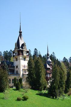 Peles Castle in the Carpathian Mtns, Romania. Construction started 1873, finished 1914. Now a museum.