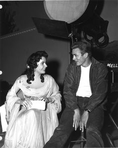 James Dean takes a break from finishing up Rebel Without a Cause to visit Elizabeth Taylor on set of Giant - 1955, Warner Bros.