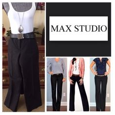 "Max Studio Black Pants.  NWT. Max Studio Black Pants, 82% cotton, 18% polyester, dry clean, 33"" waist, 9.5"" front rise, 13"" back rise, 32.75"" inseam, 20"" leg opening all around, two front pockets, two back pockets, two metal snaps and zip front closure, measurements are approx.  No PayPal....No Trades.... Max Studio Pants"