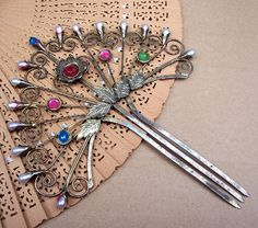 Vintage hair comb Victorian Anglo Indian multi jewels hairpin CAL