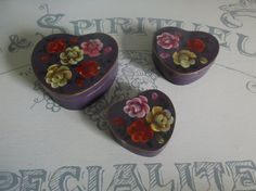 Set Of 3 Purple, Heart Shaped Wooden Trinket Boxes With Painted Roses