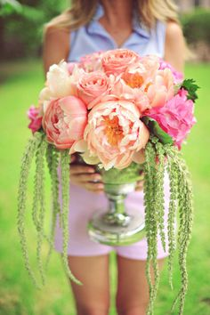 DIY Peony Centerpiece. Pinned by Afloral.com from http://www.stylemepretty.com/gallery/picture/1099376/ ~Afloral.com has high-quality faux flowers and containers for your DIY designs on a dime.