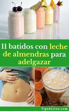 11 batidos con leche de almendras para adelgazar. #Tips #Life #vida #Batidos #Tips4Lives  #DIY  #Bienestar #Adelgazar #BajarDePeso Fruit Smoothies, Healthy Life, Latte, Hacks, Recipes, Food, David, Drinks, Crochet