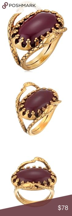 rebecca minkoff // gold-plated snake cocktail ring NWT Rebecca Minkoff gold-plated serpent detail ring with deep red resin stone. Size 7. Gorgeous, edgy and unique- an eye catcher for sure! Shipped with RM jewelry pouch. Rebecca Minkoff Jewelry Rings