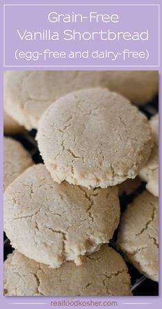 Dairy Vanilla Shortbread (Grain-Free and cups almond flour cup tapioca starch teaspoon baking soda Pinch of sea salt cup melted butter, ghee, or palm shortening* cup maple syrup 1 tablespoon vanilla powder or vanilla extract Gluten Free Cookie Recipes, Paleo Cookies, Allergy Free Recipes, Primal Recipes, Gluten Free Treats, Gluten Free Cookies, Gluten Free Baking, Gluten Free Desserts, Real Food Recipes