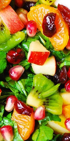Spinach Salad with Fruit and Maple-Lime Dressing