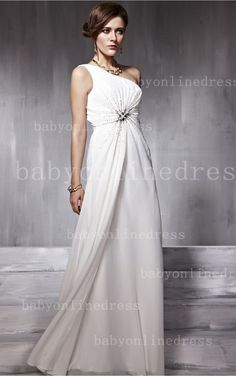 Cheap White Long Dresses for Evening Party 2013 Beading One-shoulder A-line Backless Gowns direct from China