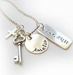 Personalized Jeremiah 29:11 Necklace with Cross and Key Charm