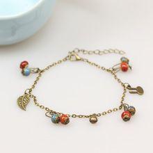 Customized Bracelet Lovely bell clovers anklets  ceramic jewelry AliExpress Best Selling Handmade Bracelets for Women Best Gift