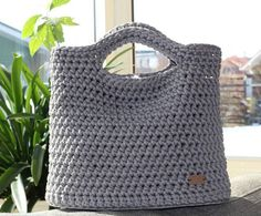 Crochet bag (from rope with lining), handmade by me, color light grey