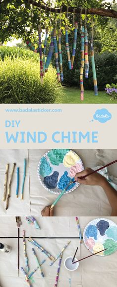An easy wind chime – enjoy the time when your kids are busy with it ☕☀ Wind chime from wooden sticks: that wood surfaces remain free, wrap the sticks with tape and after start painting with some acrylic colors windchice, sammeln, bemalen, Natur, Klangspiel, badala, DIY, upcycling, Stöcke, schälen, Acrylfarbe, Pinsel, Ferienbeschäftigung, collecting, painting, nature, soundgame, wood, acrylicpainting, holidayfun, bastelnmitkindern, Klebeband, Ferientage www.badalasticker.com
