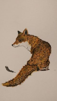 Watercolour painting- Fox with feather Watercolor Animals, Watercolour Painting, Fox Art, Foxes, Feather, Quill, Feathers, Fox