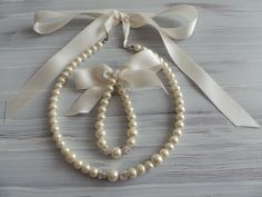 Flower girl jewelry set pearl necklace bracelet set IVORY satin ribbon wedding gift junior bridesmaid pearl bracelet wedding party