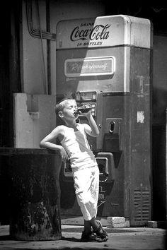 Slowly Drifting hot summer days, vending machines, coke, cocacola, hot days, bottles, kids, drinks, vintage coca cola